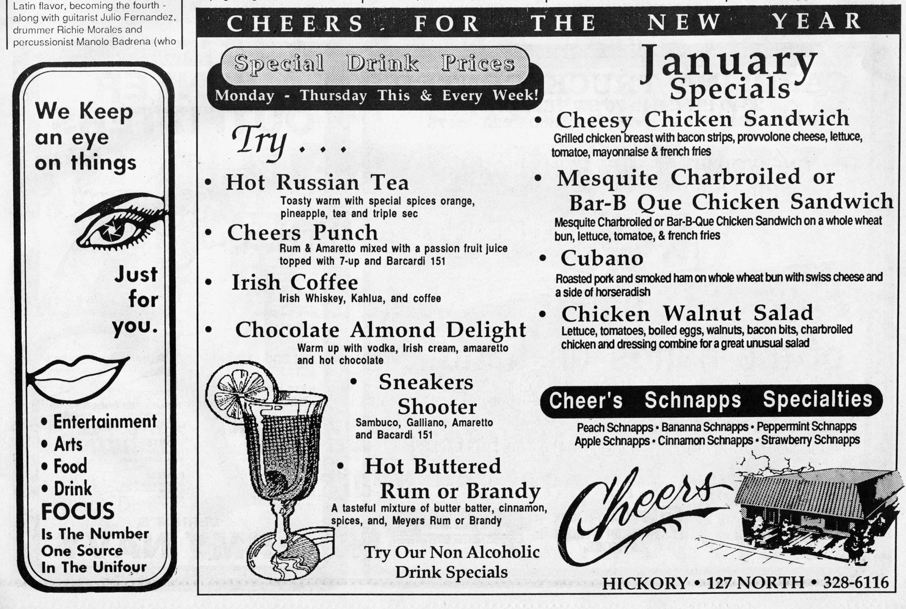 Advertisement for Cheers published January 7, 1988.