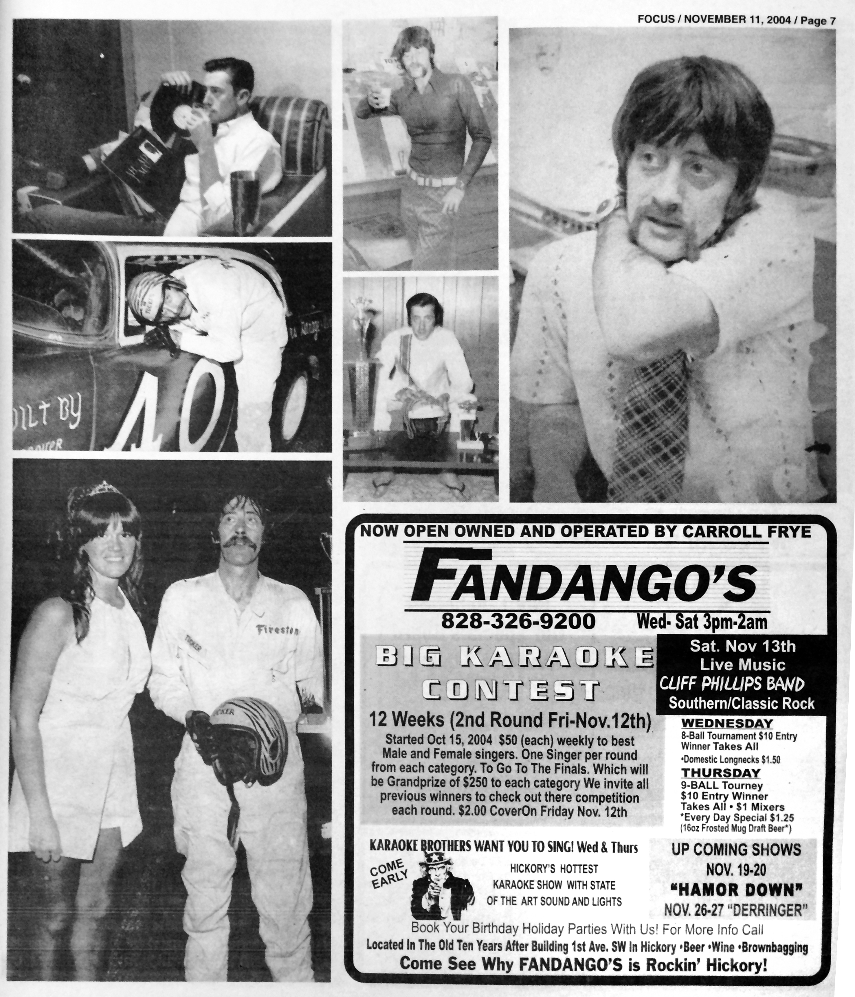 In Memory photos from late publisher John Tucker, Jr. as well as advertisement for Fandango's published November 11, 2004.