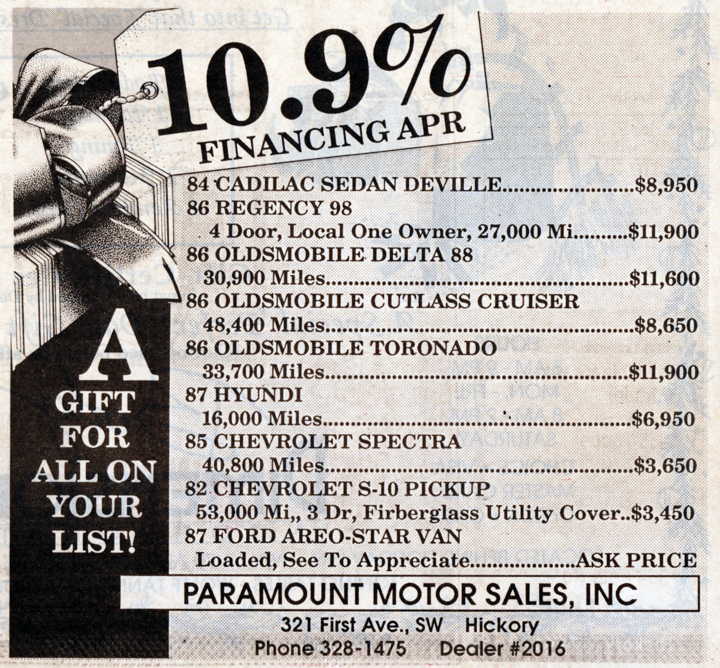 Advertisement for Paramount Motor Sales, Inc. published December 8, 1988.