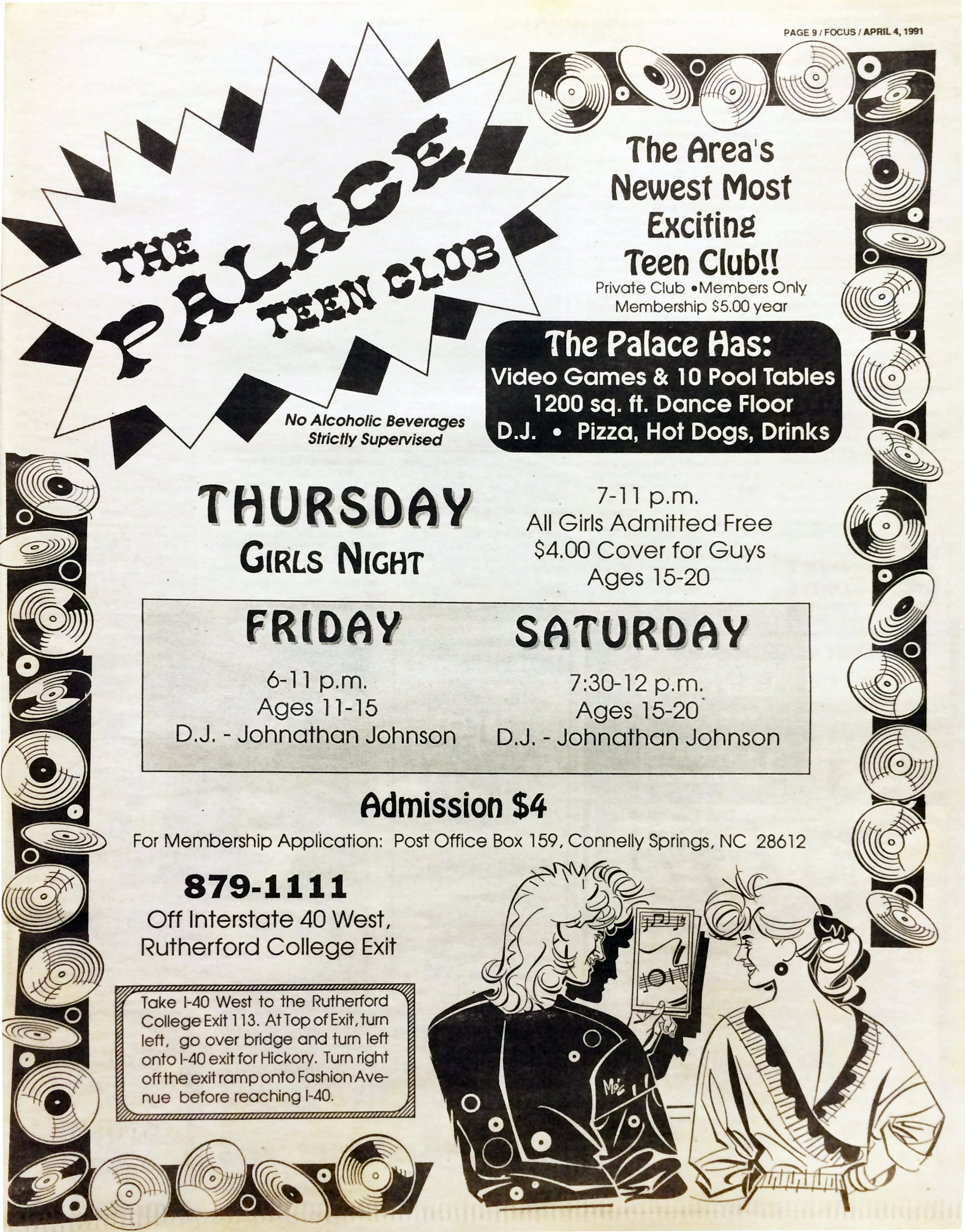 Advertisement for The Palace published April 4, 1991.