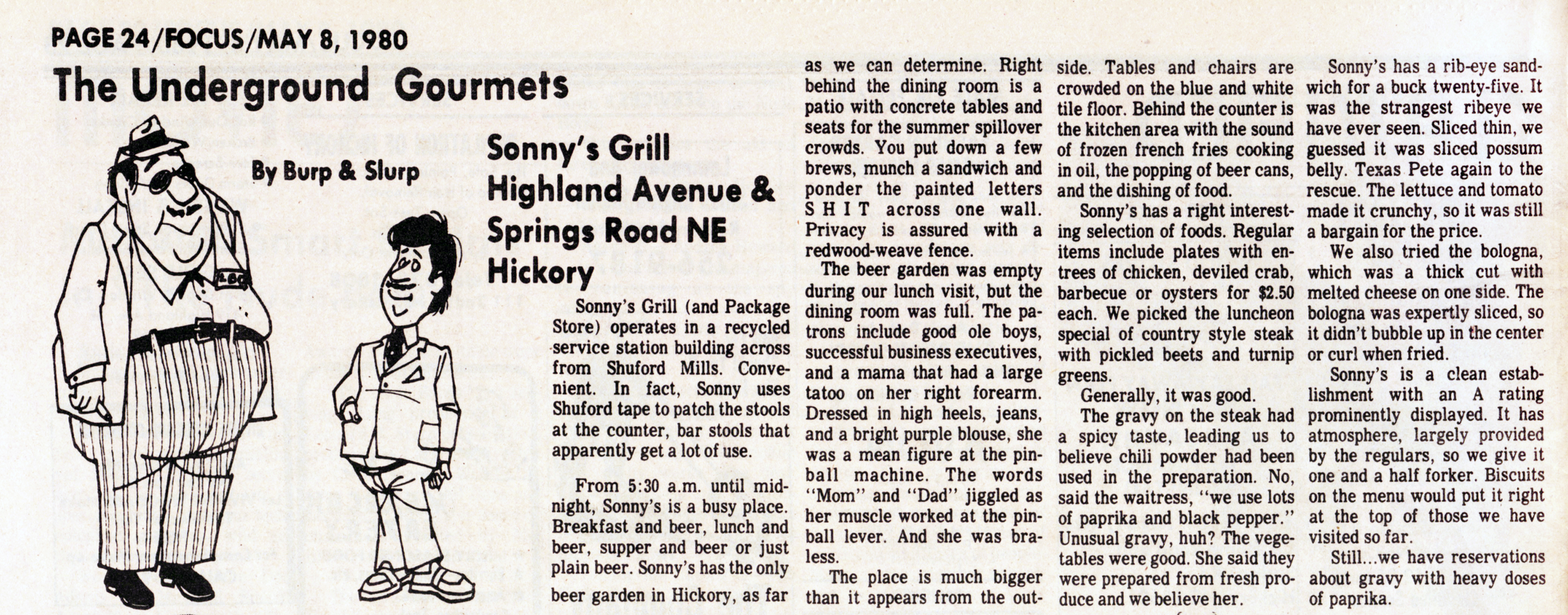 """The Underground Gourmets"" Column by Burp & Slurp published May 8, 1980."