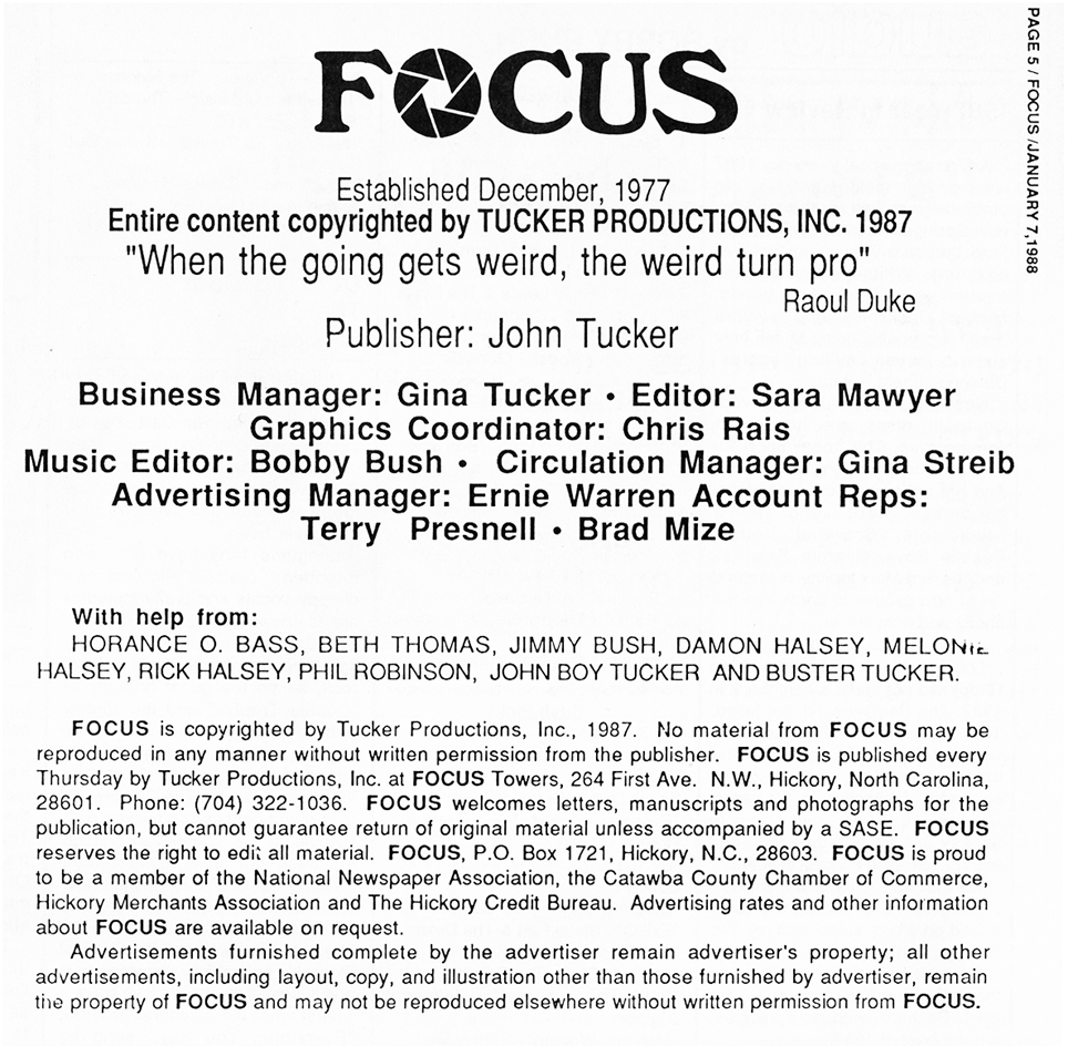 FOCUS Masthead published on January 7, 1988.