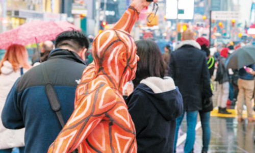 Body-painted Models Brave NYC Chill