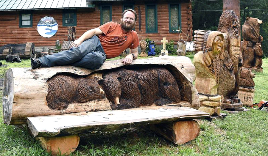 Disabled Coal Miner Finds Solace In Realist Style Of Chainsaw Woodcarving