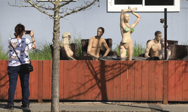Nude Mannequins Send  Message To Nosy Neighbor