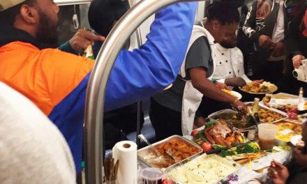 New York Commuters Enjoy Thanksgiving On Subway Car