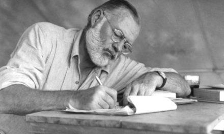 Hemingway Typewriter And Gandhi Postcard For Sale