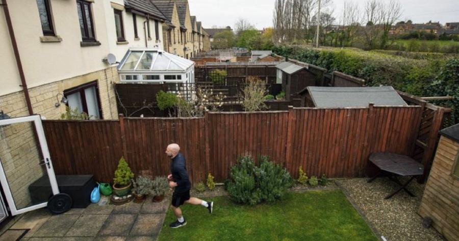 British Man Runs Marathon In Backyard During Lockdown