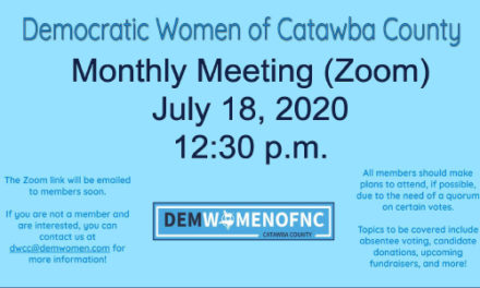 Join Democratic Women Of Catawba County On Zoom, July 18, For Monthly Meeting