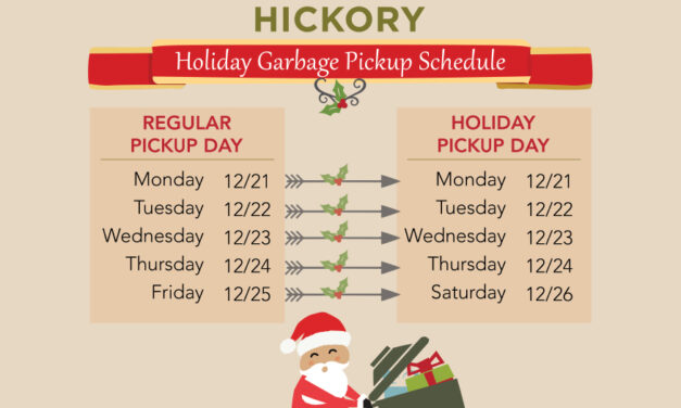 City Of Hickory's Office, Facility  Closings, & Garbage Schedule