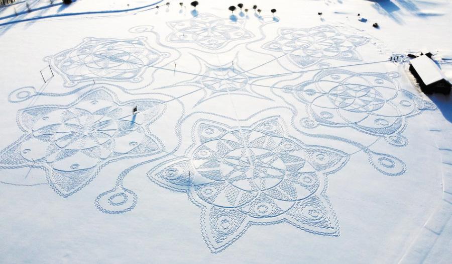 Finns Create Temporary Artwork On Snowy Golf Course