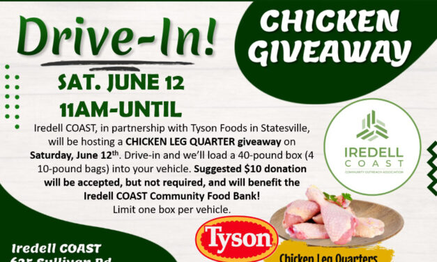 Iredell Coast's Chicken Drive-In Giveaway, Saturday, June 12