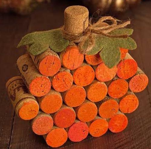 Wine Cork Fall Pumpkin Craft